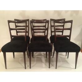 Set 6 Italian Mid Century dining chairs c. 1940.