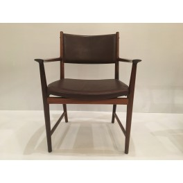Set of 6 Mid C. rosewood arm chairs . Denmark