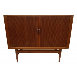 Scandinavian Two Door Tambour  cabinet c. 1960