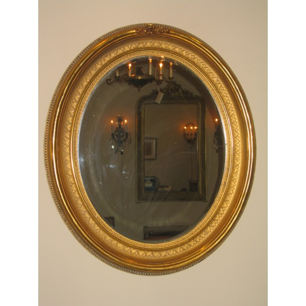 Gold Leaf Frame Oval Mirror C 1900 Classic Antiques Phl