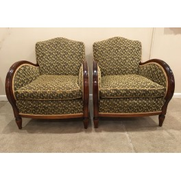 Pair French bergere chairs c. 1930's