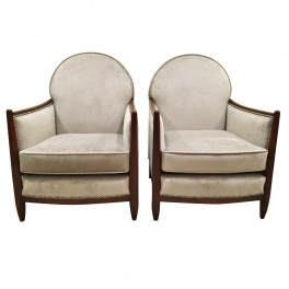 Pair of Art Deco Ruhlmann style club chairs