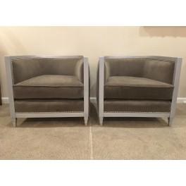 Pair Silver gild Art Deco style club chairs
