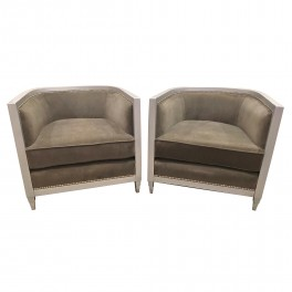 Pair Silver gild Art Deco style club chairs